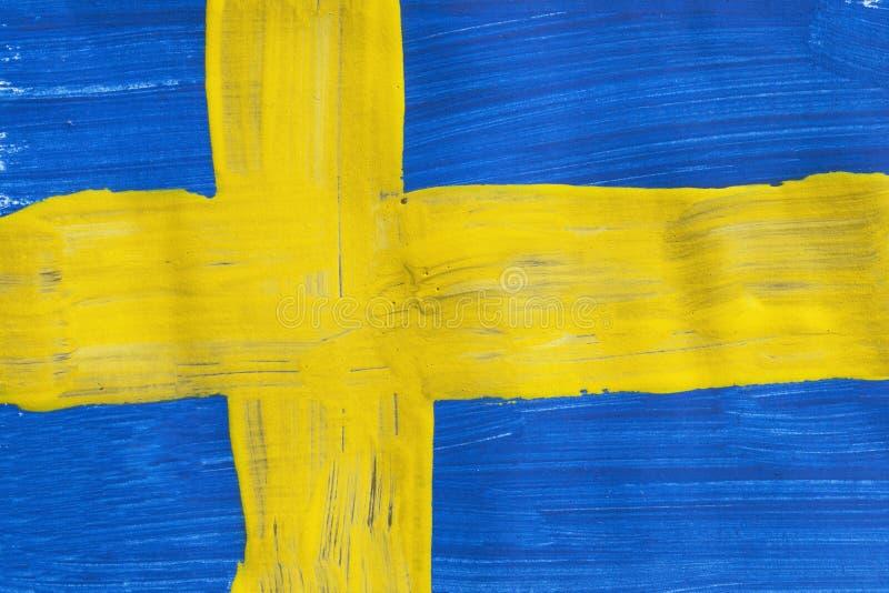 被绘的瑞典旗子 免版税库存照片