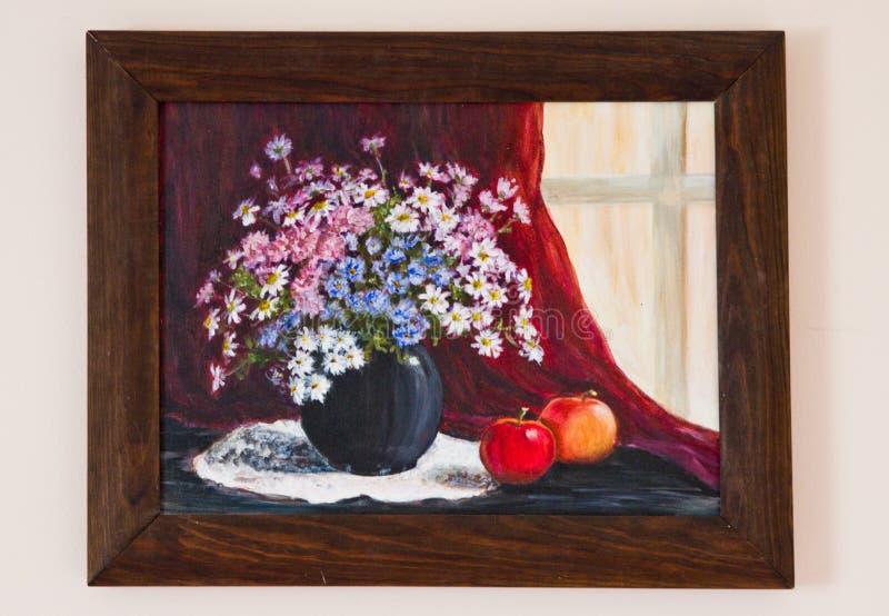 被绘的艺术品-调遣在花瓶的花在红色帆布 图库摄影