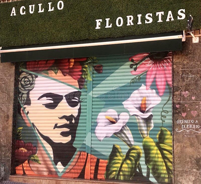被绘的花店窗帘,西班牙,阿利坎特,科斯塔布朗卡 库存图片