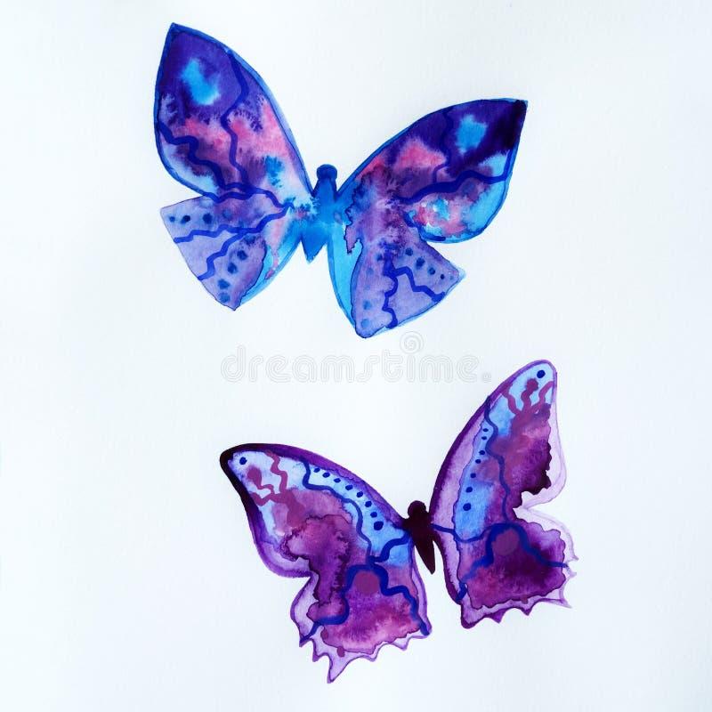 被绘的蓝色宇宙水彩,两只蝴蝶 皇族释放例证