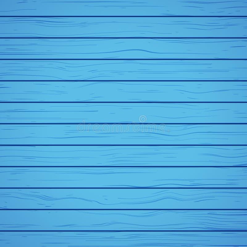 被绘的蓝色木背景材料 织地不很细蓝色木墙壁表面板盘区 向量例证
