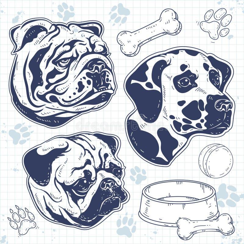 被绘的集合装饰品种狗,剪影狗头,牛头犬,哈巴狗,达尔马提亚狗 库存例证