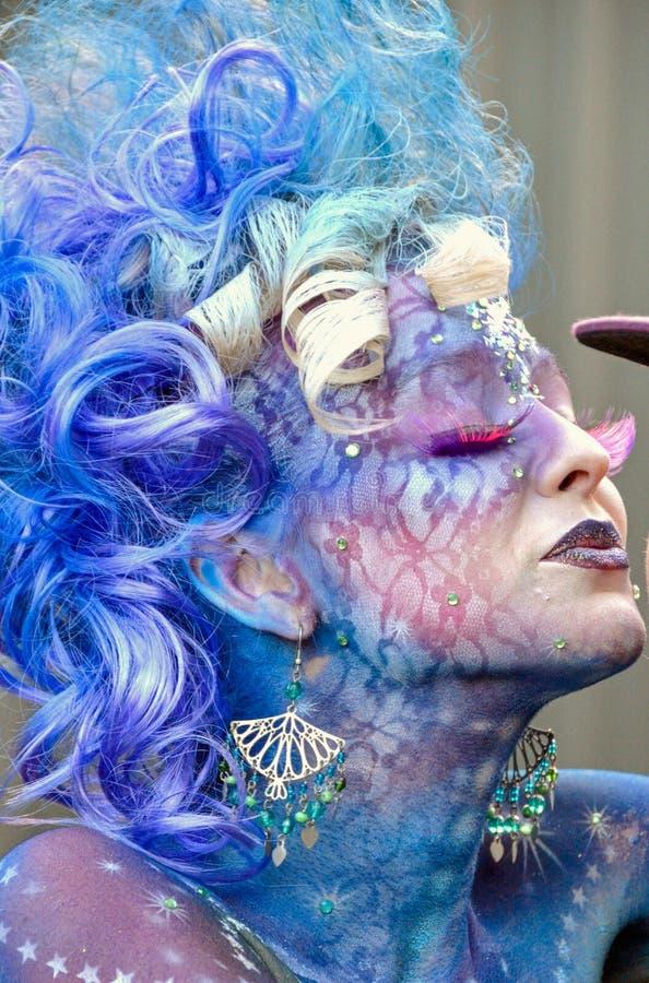 被绘的面孔在人体艺术竞争,昆士兰,澳大利亚中 免版税库存图片