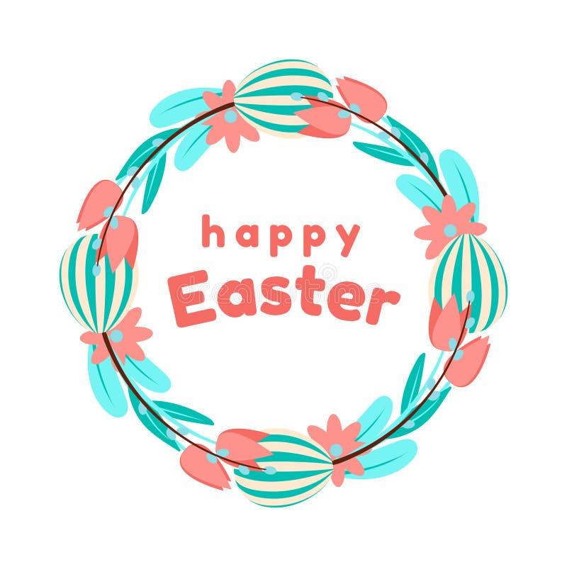 被绘的鸡蛋、花、郁金香和杨柳复活节花圈在蓝色和珊瑚颜色 背景查出的白色 库存例证