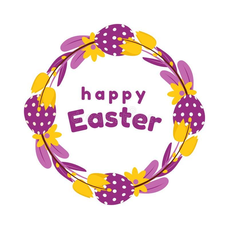 被绘的鸡蛋、花、郁金香和杨柳复活节花圈在黄色和紫色颜色 背景查出的白色 库存例证