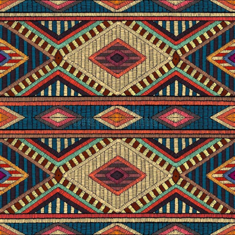 被绣的无缝的几何样式 地毯的装饰品 向量例证