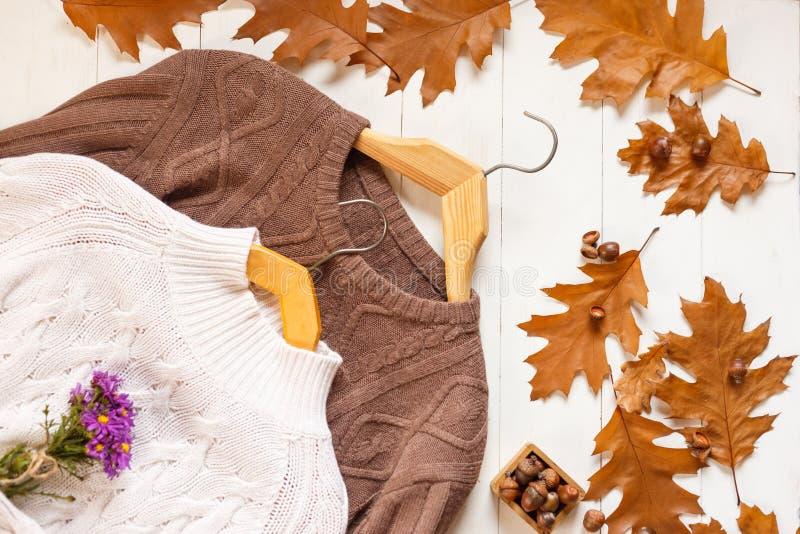 被编织的伯根地和白色sweaterson,顶视图播种的看法  库存照片