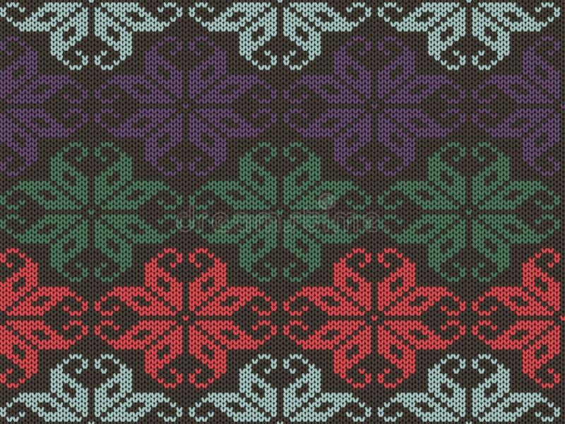 被编织的几何装饰品纹理 编织无缝的样式 毛线衣冬天设计用不同的颜色 皇族释放例证