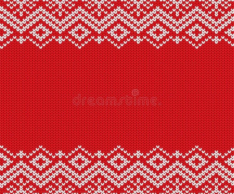 被编织的圣诞节红色和白色几何装饰品 Xmas编织冬天毛线衣纹理设计 库存例证