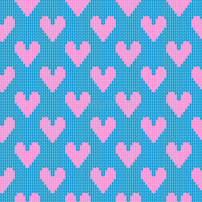 被编织的心脏样式 库存例证