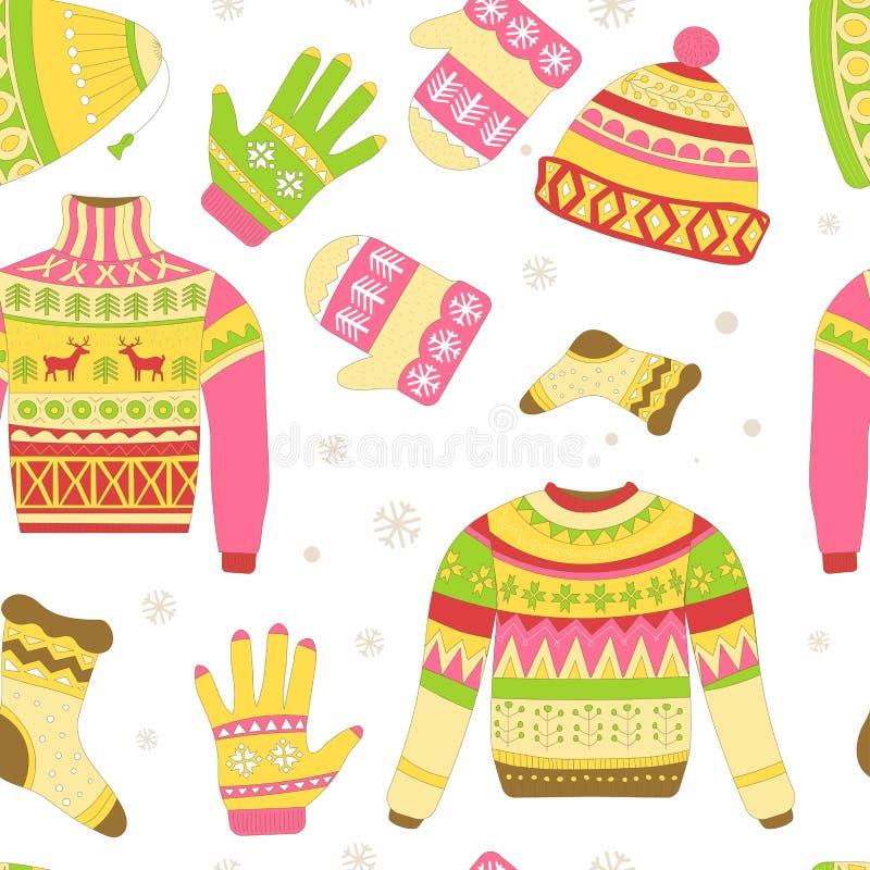 被编织的毛线衣和被隔绝的温暖的冬天帽子无缝的样式 库存例证