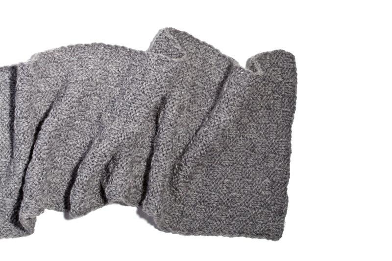 被编织的灰色围巾 库存图片