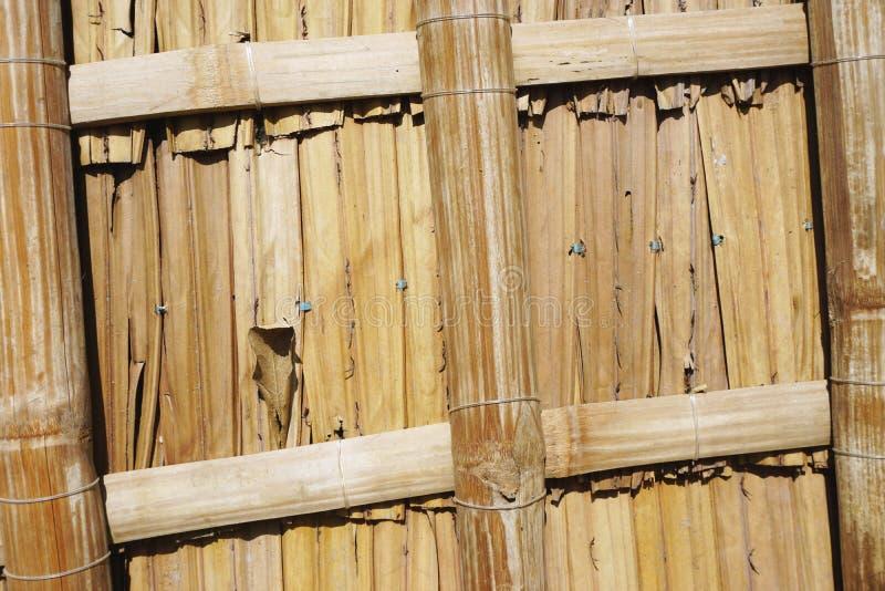 被编织的竹墙板摘要水平的背景纹理特写镜头  库存照片