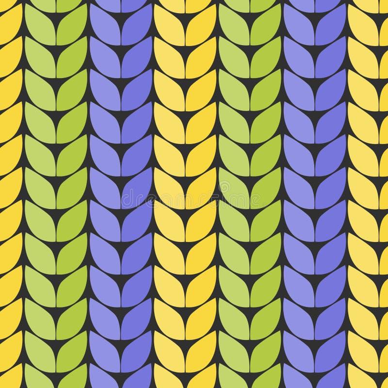 被编织的织品 厚实编织的模仿 以之字形的形式无缝的样式 向量例证