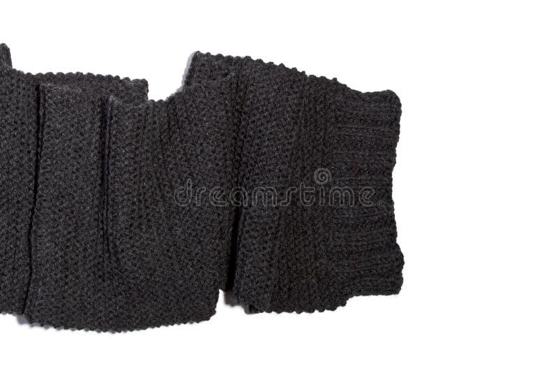 被编织的羊毛深灰围巾 库存照片