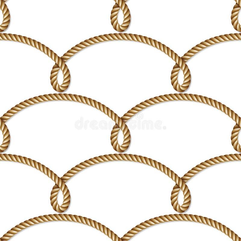 被编织的船舶黄色绳索,无缝的样式,背景 库存例证