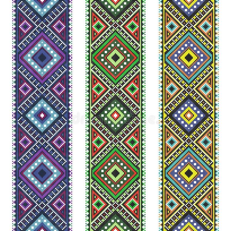 被编织的集合民间艺术由十字绣样式绣了好 向量例证