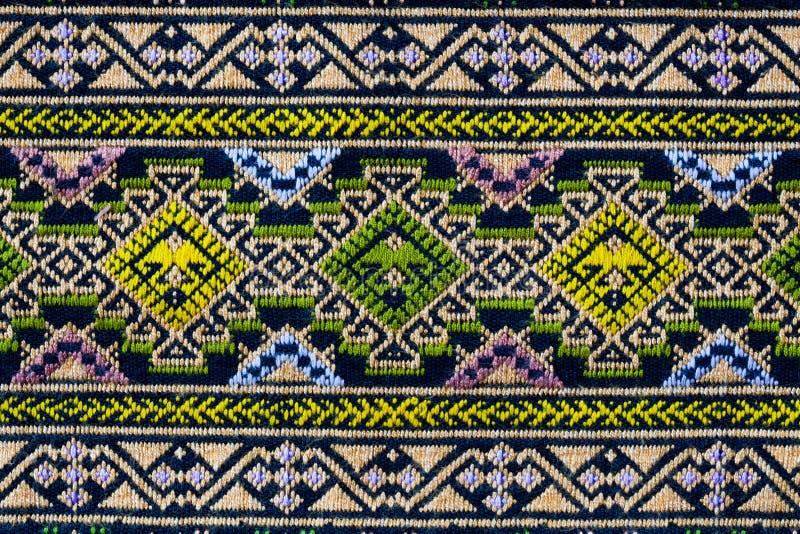 被编织的1古老特写镜头布料模式泰国 图库摄影