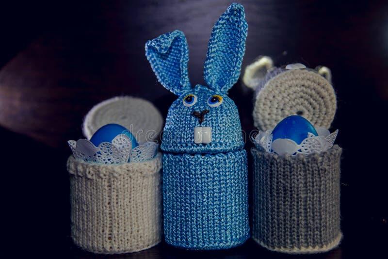 被编织的复活节兔子-纪念品的蛋盒场合 免版税库存图片