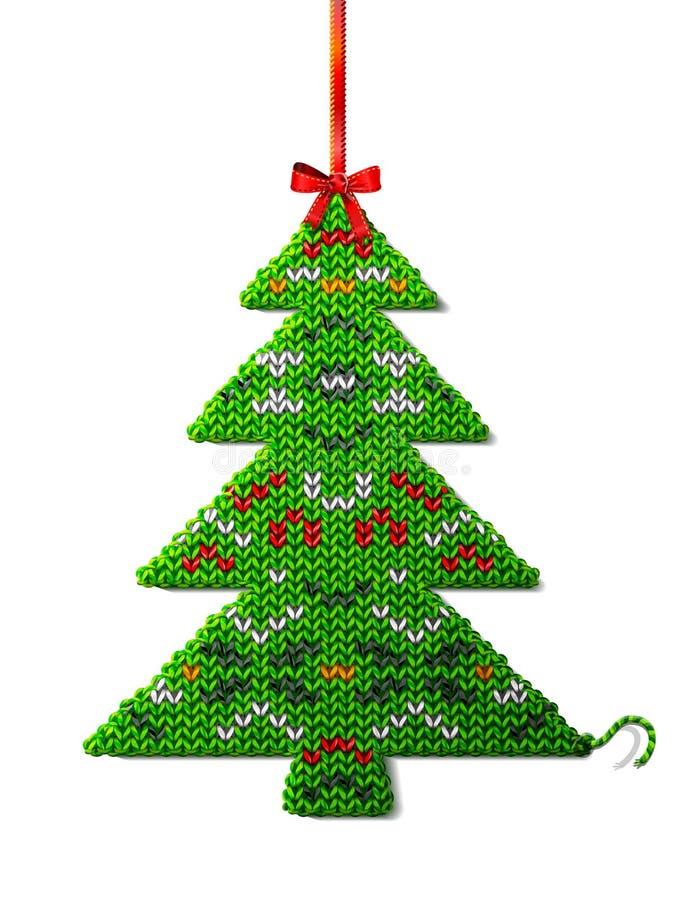 被编织的织品圣诞树与装饰品的 向量例证