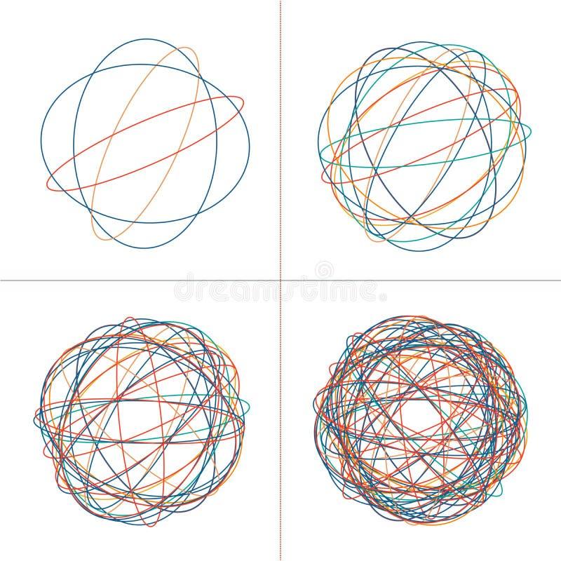 被缠结的圈子线团,色的复杂纹理 混乱五颜六色的被缠结的圈子 混乱条纹 被隔绝的传染媒介例证  免版税库存图片