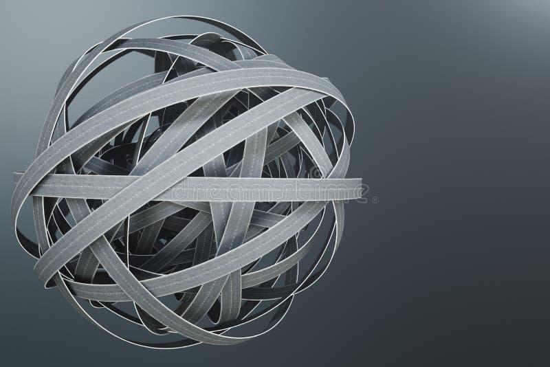 被缠结的路球形,在灰色背景 抽象路结 概念旅行,运输 3d例证 库存例证