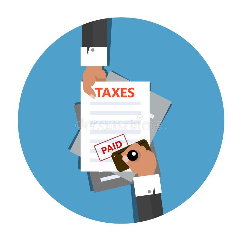 被缴纳的税在有不加考虑表赞同的人的人的手上在蓝色背景检查纸与付的付款和封印 库存例证