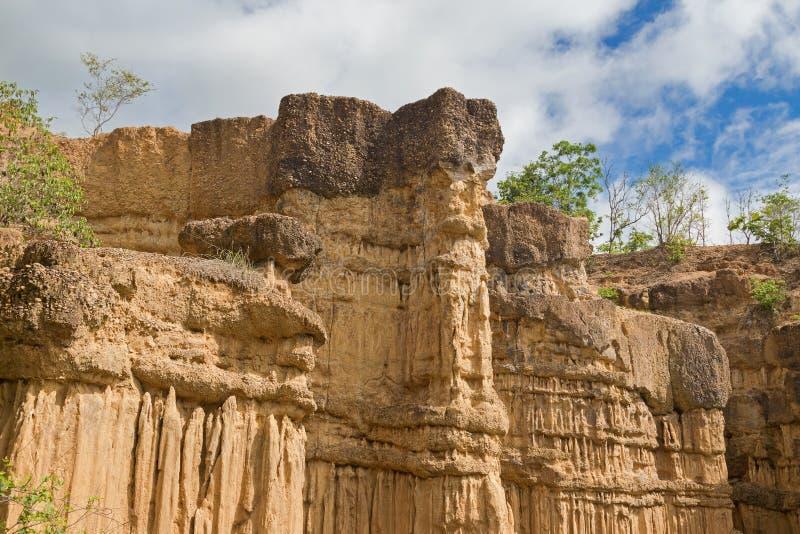被腐蚀的峭壁,土壤柱子,岩石雕塑自然现象  免版税库存图片