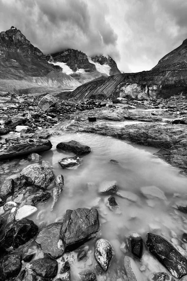 被腐蚀的环境Athabasca冰川 库存图片