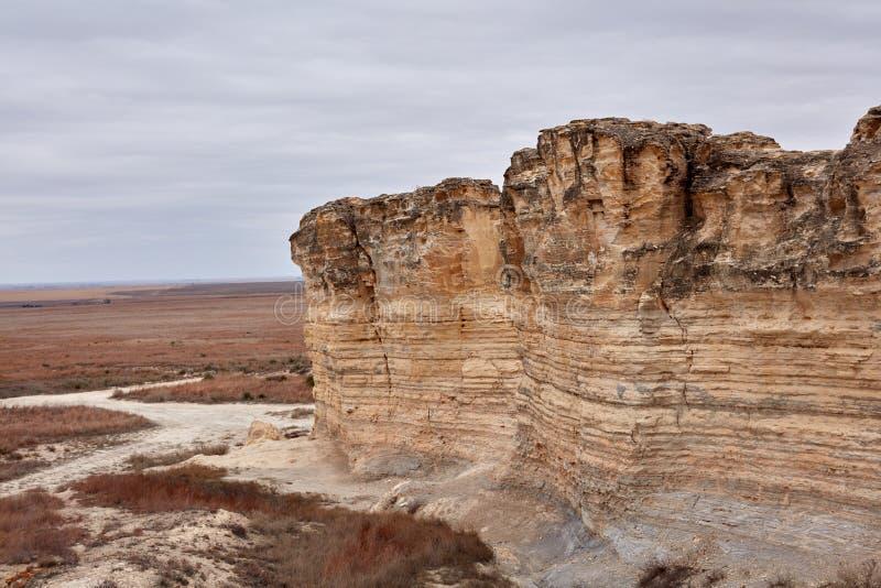 被腐蚀的石灰石垂直的峭壁在Castle Rock的 库存照片