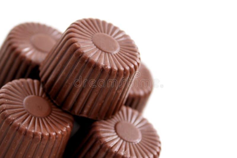 被舍入的底部巧克力角落 库存照片