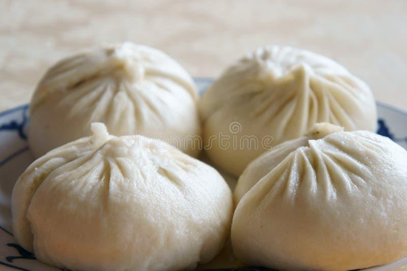 被蒸的小圆面包汉语 免版税库存照片