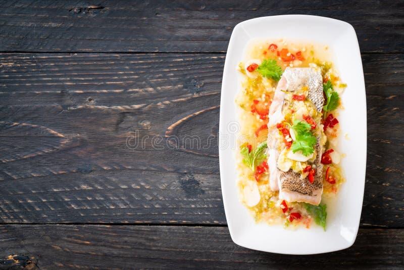 被蒸的石斑鱼鱼片用辣椒在石灰选矿的石灰调味汁 库存照片