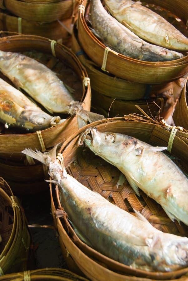 被蒸的鱼市 免版税库存图片