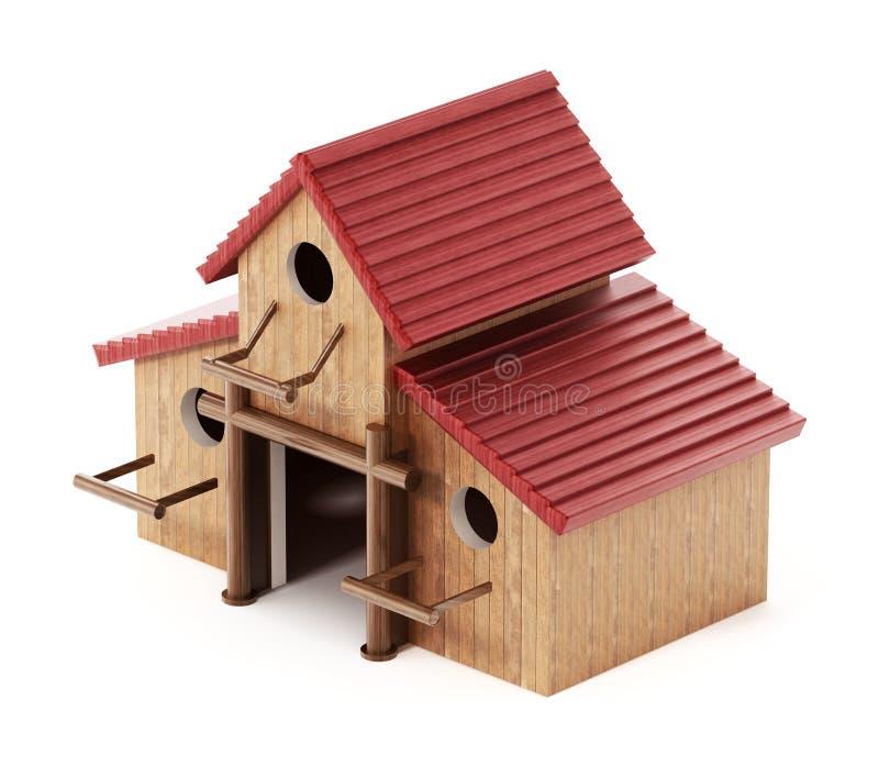 被装配的三个鸟房子一起形成一个大鸟舍 3d?? 向量例证