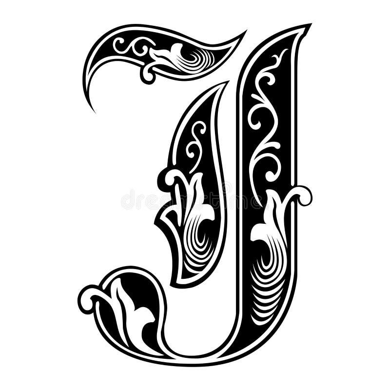 被装饰的哥特式样式字体,信件J 库存例证