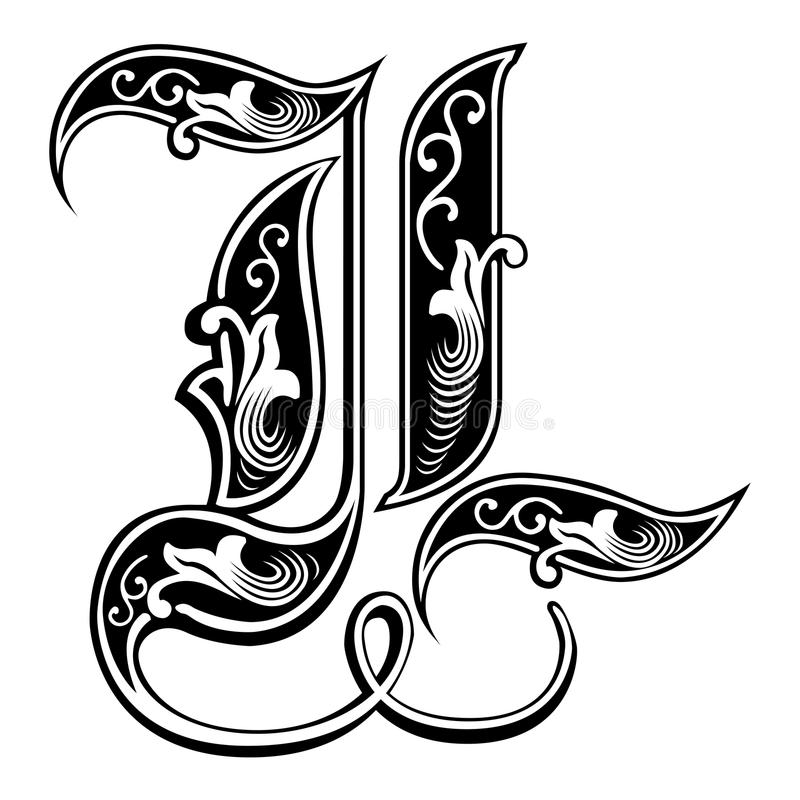 被装饰的哥特式样式字体,信件L 皇族释放例证