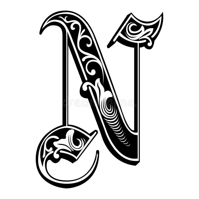 被装饰的哥特式样式字体,字母N 皇族释放例证