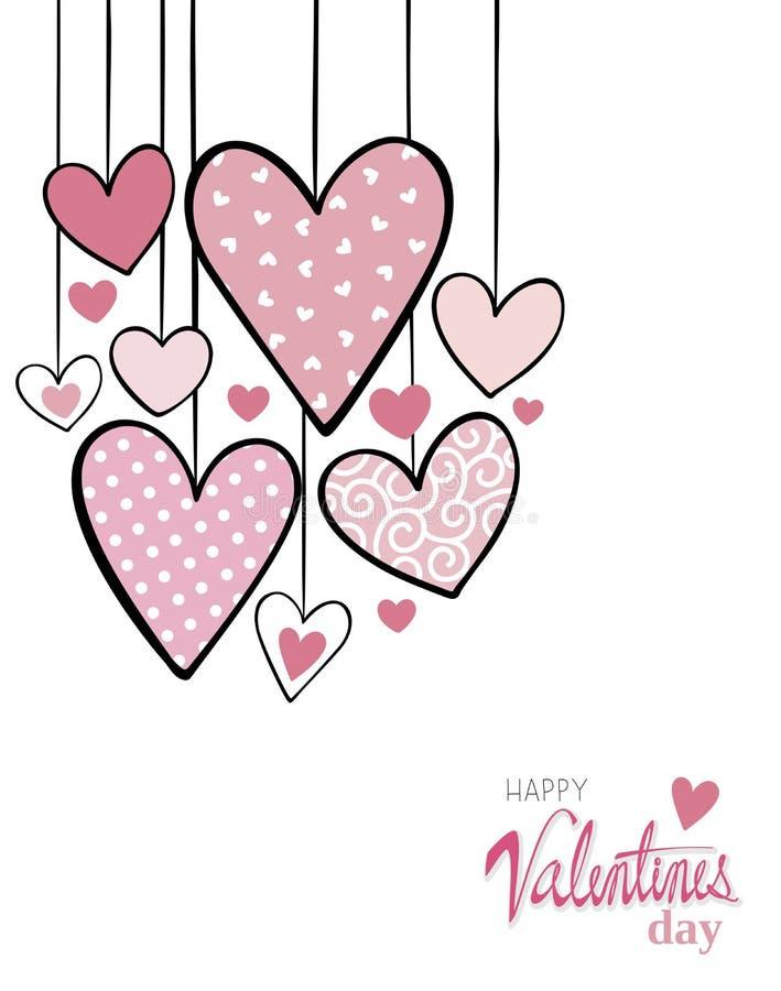 被装饰的心脏情人节卡片背景 皇族释放例证