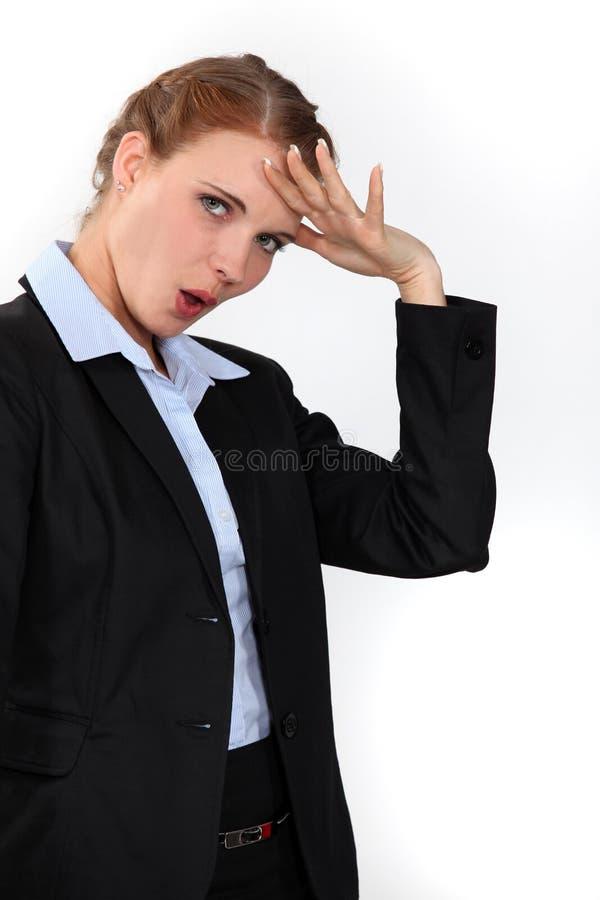 被解除的女实业家 免版税库存图片