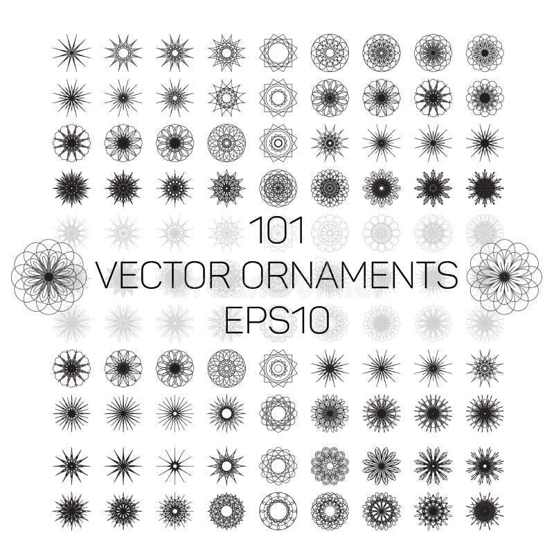 被设置的一套101件圆的呼吸运动记录器几何装饰品 向量例证EPS10 库存例证