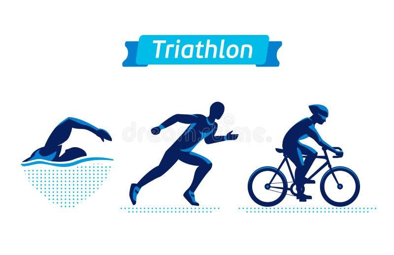 被设置的三项全能商标或徽章 传染媒介计算在白色背景的triathletes 游泳,循环和跑人 平面 库存例证