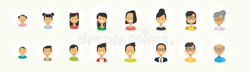 被设置的不同的人民平展面对在白色背景,女性男性具体化的人的多一代画象 向量例证