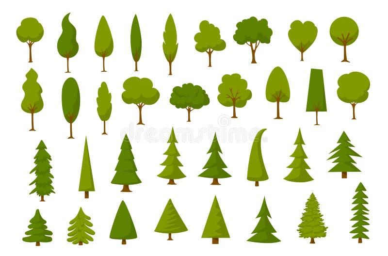 被设置的不同的动画片公园森林杉木冷杉木 皇族释放例证