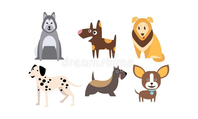被设置的不同的品种,逗人喜爱的宠物,家畜狗,最好的朋友导航例证 库存例证