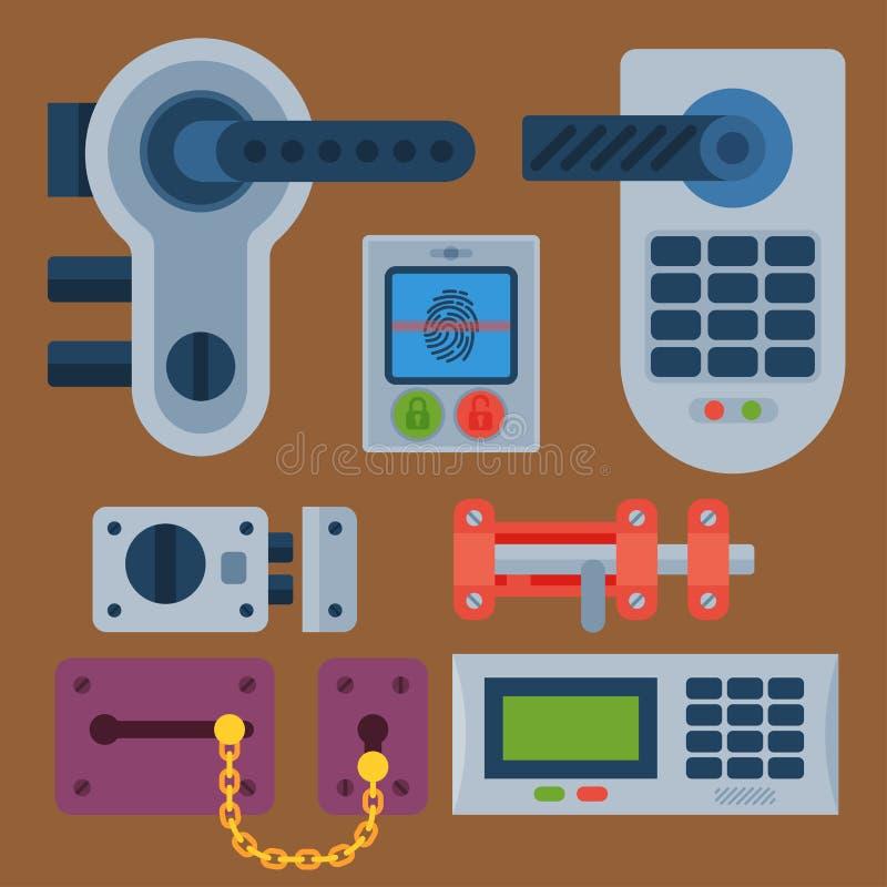 被设置的不同的房子门锁象导航安全密码与钥匙和挂锁,保护安全的保密性元素 向量例证
