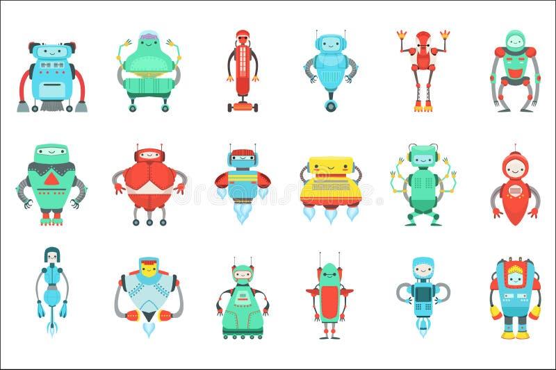 被设置的不同的逗人喜爱的意想不到的机器人字符 明亮的颜色幼稚动画片设计机器人 库存例证