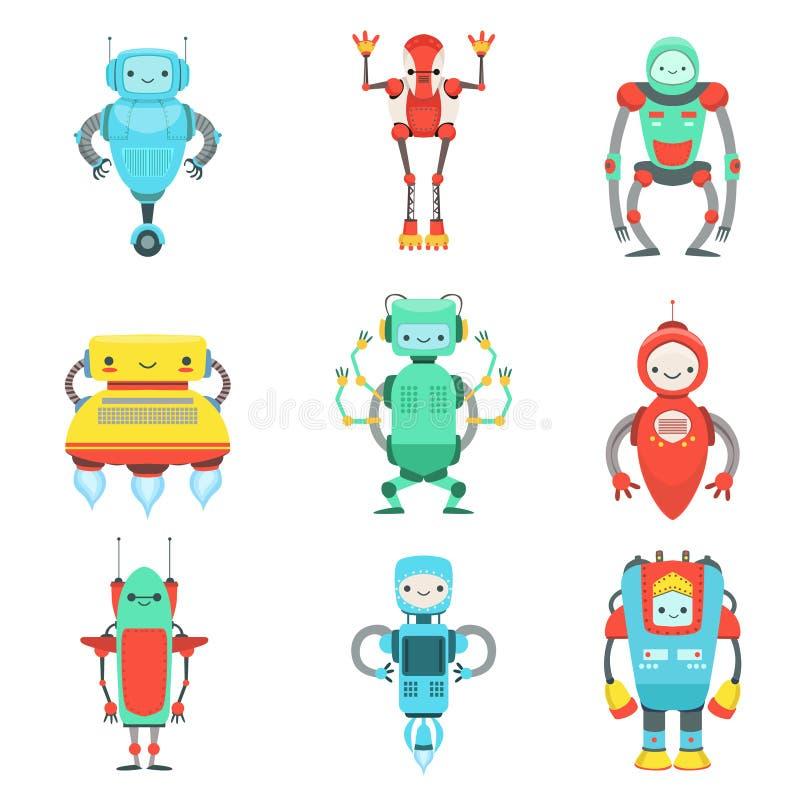 被设置的不同的逗人喜爱的意想不到的机器人字符 库存例证