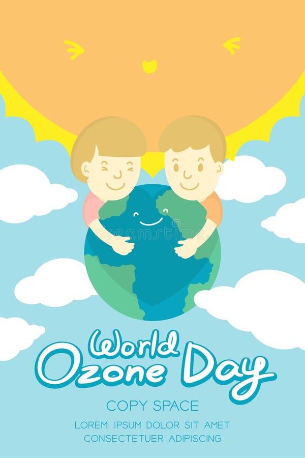 被设置的世界臭氧天9月16日垂直的横幅,全球性变暖概念孩子拥抱保护微笑地球、太阳、天空和云彩 皇族释放例证