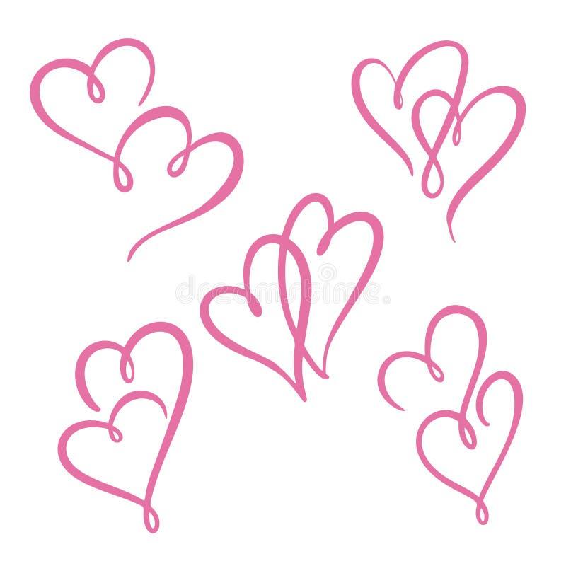 被设置的两条心脏线 华伦泰` s天,双重心脏 皇族释放例证